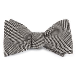 Cotton Glen Plaid Black Bow Tie