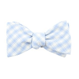 Mesh Plaid Light Blue Bow Tie