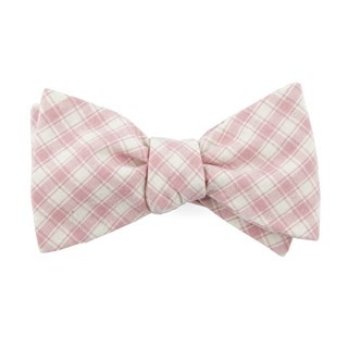 Mesh Plaid Baby Pink Bow Tie