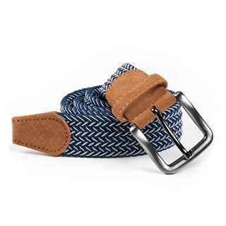 Braided Herringbone Navy Belt