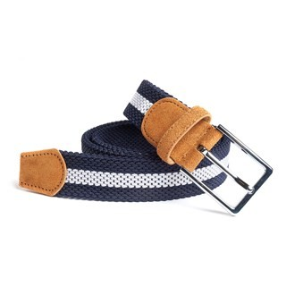 On Your Mark Stripe Navy Belt