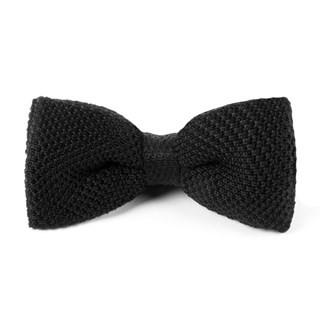Knitted Black Bow Tie