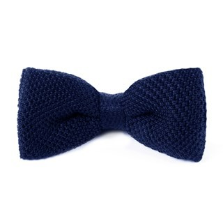 Knitted Blue Bow Tie