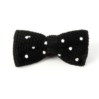 Knit Polkas Black Bow Tie