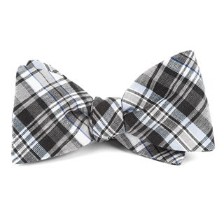 Rnr Plaid Grey Bow Tie