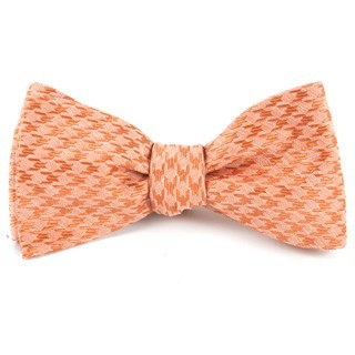 White Wash Houndstooth Orange Bow Tie