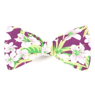 Tropic Of Linen Wine Bow Tie