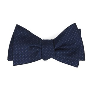Dotted Spin Navy Bow Tie