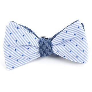 Aisle Houndstooth Blue Bow Tie