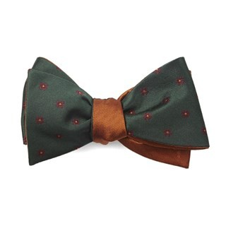 Floral Wave Herringbone Hunter Green Bow Tie