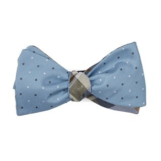 Suited Polka Plaid Steel Blue Bow Tie