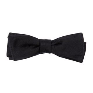Solid Satin Black Bow Tie