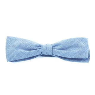 Classic Chambray Sky Blue Bow Tie