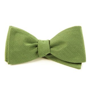 Solid Wool Moss Bow Tie