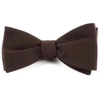 Solid Wool Chocolate Brown Bow Tie