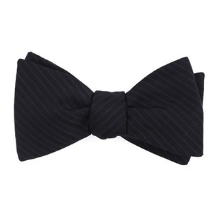 Chalk Stripe Midnight Navy Bow Tie
