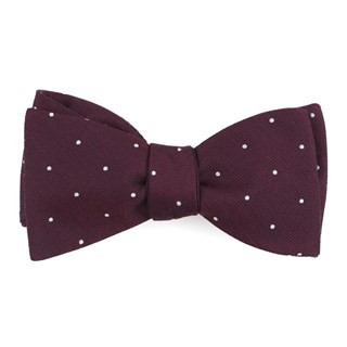 Dotted Report Wine Bow Tie