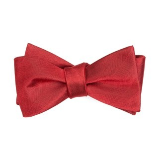 Herringbone Vow Red Bow Tie