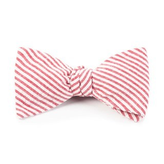 Seersucker Red Bow Tie