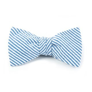 Seersucker Blue Bow Tie