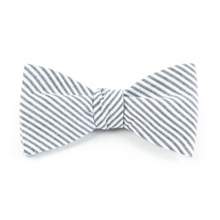 Seersucker Grey Bow Tie