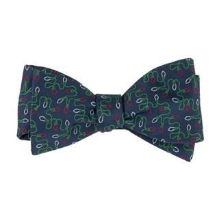 Holiday String Lights Navy Bow Tie