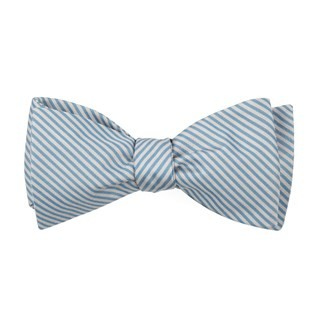 Mumu Weddings - Coastal Stripe Steel Blue Bow Tie