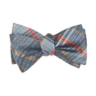 Misty Plaid Slate Blue Bow Tie