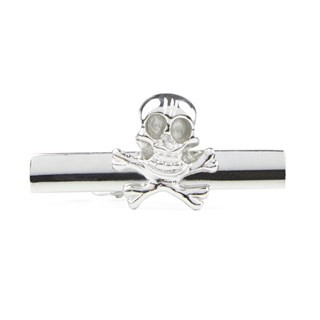 Skull And Crossbones Silver Tie Bar