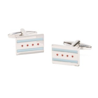 Chicago Flag Silver Cufflinks