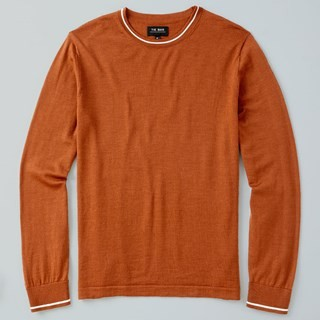 Perfect Tipped Merino Wool Crewneck Rust Sweater