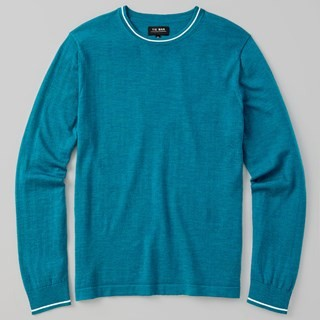Perfect Tipped Merino Wool Crewneck Teal Sweater