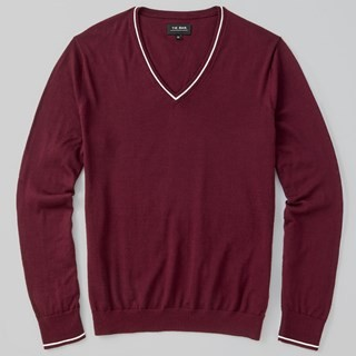 Perfect Tipped Merino Wool V-Neck Burgundy Sweater