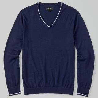 Perfect Tipped Merino Wool V-Neck Navy Sweater