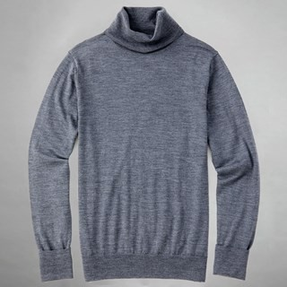 Perfect Merino Wool Grey Turtleneck Sweater