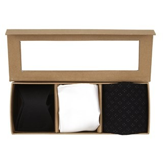 Black Grosgrain Solid Bow Tie Gift Set