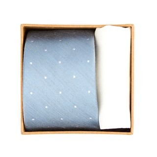 Bulletin Dot Tie Box Slate Blue Gift Set