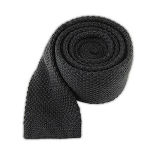 Knit Solid Wool Graphite Tie