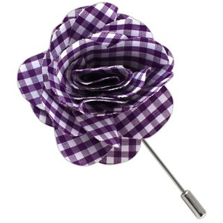 Petite Gingham Plum Lapel Flower Pin