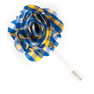 Sound Plaid Royal Lapel Flower Pin