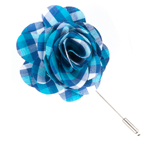Sound Plaid Turquoise Lapel Flower Pin