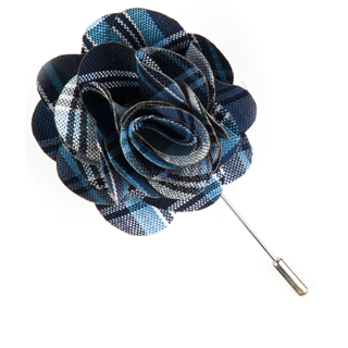 Narrative Plaid Navy Lapel Flower Pin