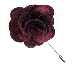 Astute Solid Burgundy Lapel Flower Pin