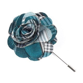 Wit Plaid Teal Lapel Flower Pin