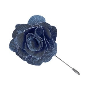 Festival Textured Solid Slate Blue Lapel Flower