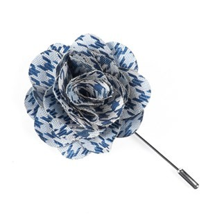 White Wash Houndstooth Blue Lapel Flower Pin