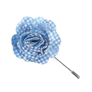 Be Married Checks Light Blue Lapel Flower