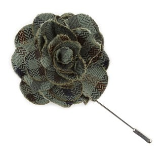 Southeast Plaid Moss Green Lapel Flower Pin