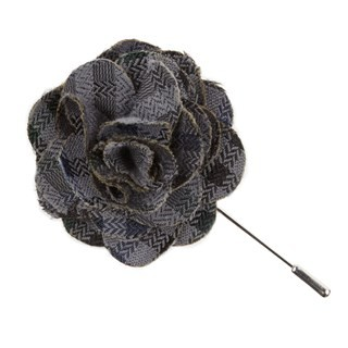Southeast Plaid Grey Lapel Flower