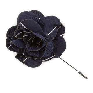 Pencil Pinstripe Classic Navy Lapel Flower Pin